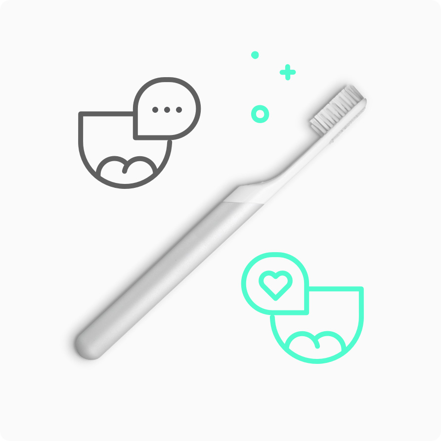 Two smiles with speech bubbles and a toothbrush