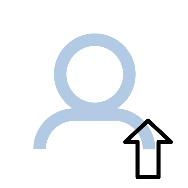 person outline with upwards facing arrow
