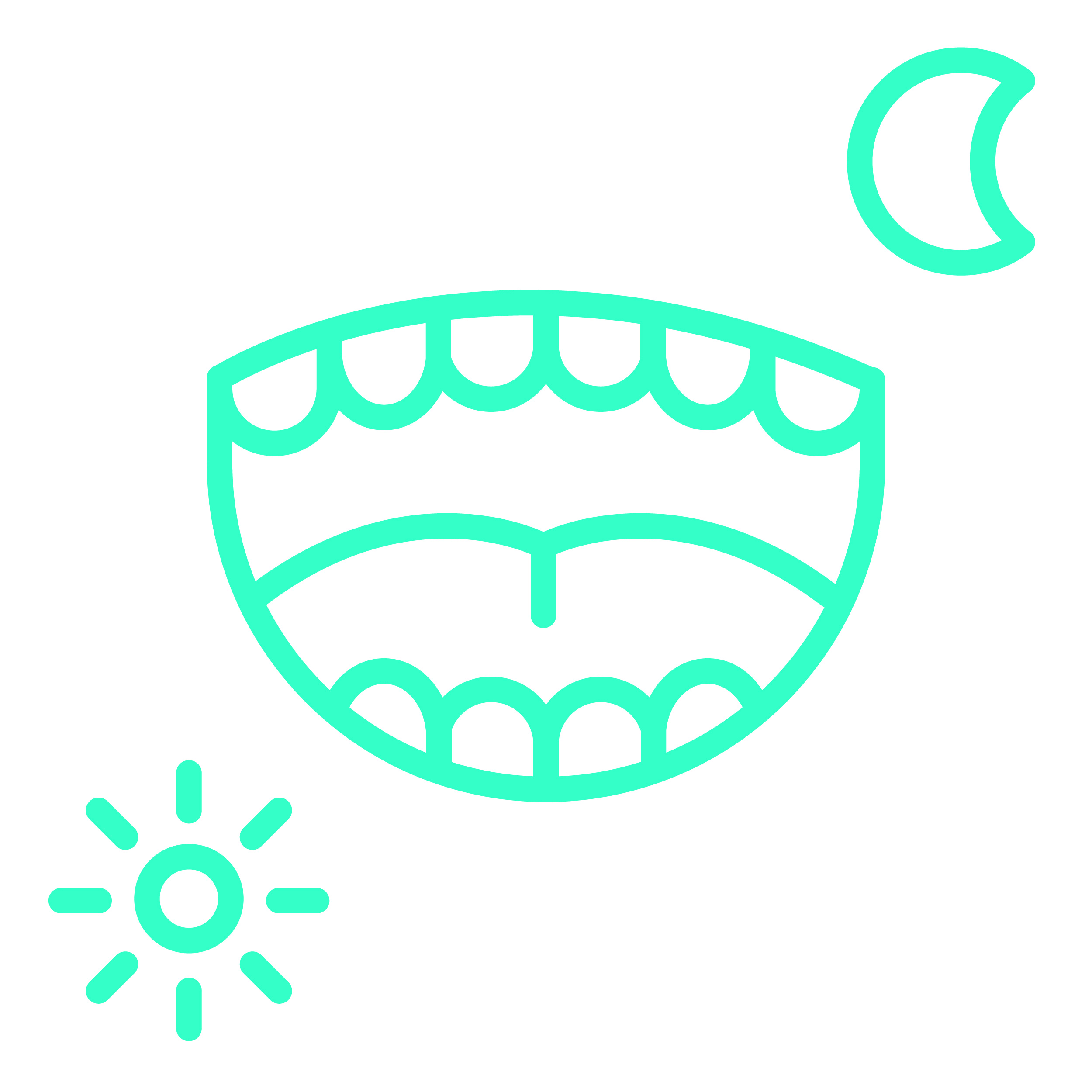 cartoon of open mouth with sun and moon
